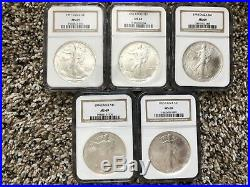 Silver Eagle 1986-2008 NGC MS69 + 2009 NAC MS70 and 2010 PCGS MS69 Set -25 Total