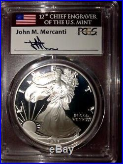 Silver Eagle DATE RUN PF70 DCAM 1986-2019 with the 1995 W MERCANTI FLAG LABEL