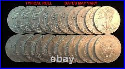 Silver Eagles Roll of 20 Mixed Date US 1 ounce coins Mint State Free Shipping