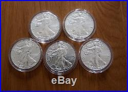 Silver coins 5x American eagle (2016)