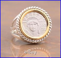 Sterling Silver + 14kt Gold Coin Ring with U. S. 1/10 oz. PLATINUM Eagle Coin