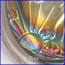 True Rainbow Toned 1987 American Silver Eagle PCGS MS68 Beautiful Vibrant Tone
