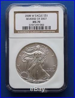 U. S. 2008 W SILVER EAGLE Reverse of 2007 (NGC MS70)