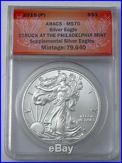 Ultra Rare Anacs Graded Perfect Ms-70 2015-p Philadelphia American Silver Eagle